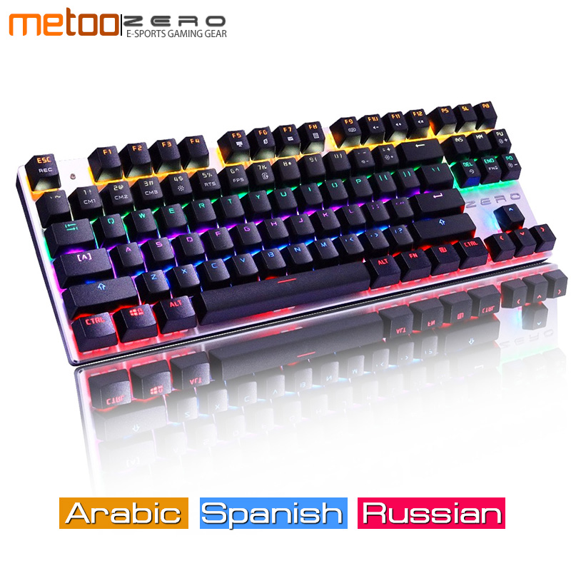 Metoo ZERO Wired Mechanical Black Blue Switches Gaming Keyboard LED Backlit Ergonomic Wrist Rest Tactile Keyboard Gaming For PC цена