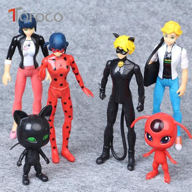 TOFOCO 6PCS/Set Miraculous Ladybug Action Figures Toy Tales of Ladybug & Cat Noir Model Toy Doll Lady Bug Adrien Marinette Plast