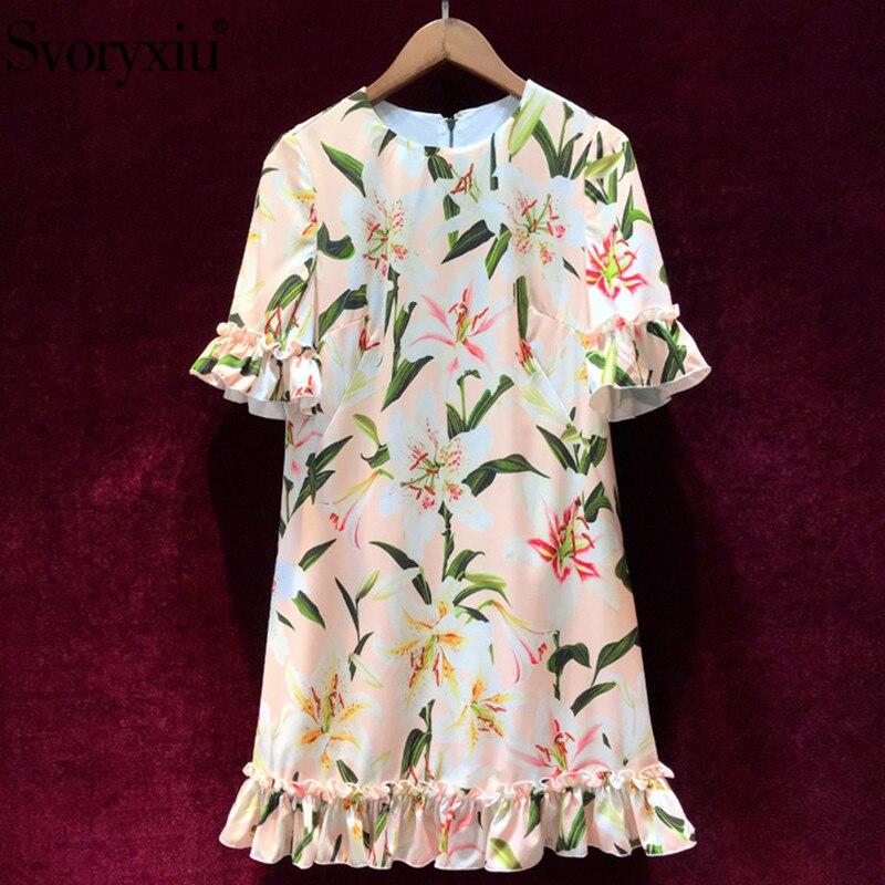 Svoryxiu 2019 Runway Summer lily Flower Print Loose Dress Women s Elegant Flare Sleeve Casual Holiday