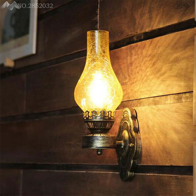 JW Antique Rustic Iron Wall Lamp Vintage Kerosene Lantern Light Rusty  Corridor Hallway Wall Sconce Lighting