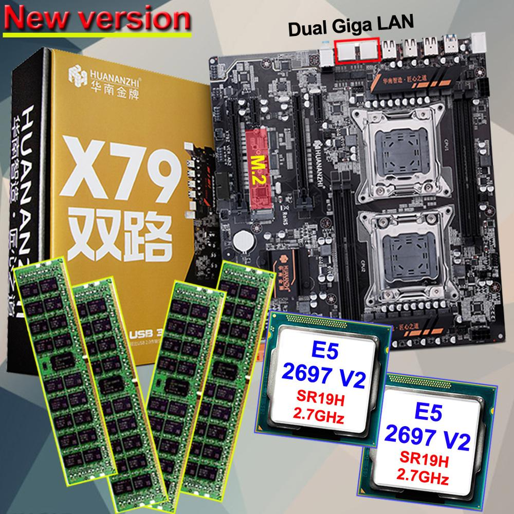 Discount HUANAN ZHI dual X79 LGA2011 motherboard bundle motherboard with M.2 slot CPU Intel Xeon <font><b>E5</b></font> <font><b>2697</b></font> <font><b>V2</b></font> 2.7GHz RAM 32G(4*8G) image