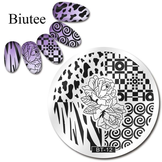 Biutee Round 6cm Nail Art Stamping Plate Zebra Leopard Pattern