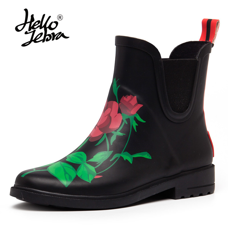 Hellozebra Women Short Rain Boots Floral Rose Ladies Non-Slip Rubber MIid-Calf Hoof Heels Waterproof Buckle Rainboots Waterproof hellozebra women rain boots lady high shoes platform eva boots printing leather low heels waterproof buckle wearable appliques