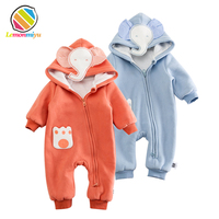 Baby Boys Winter Thicken Rompers Infants Girls Christmas 3D Hooded Outfitss Birthday 1st Year Jumpsuits Fleece