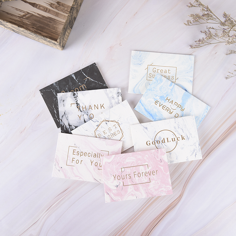 5pcs Mini MarbledCard Message Card Birthday Wishes Christmas Card Gold Mini Stamping Card Simple Creative Greeting image