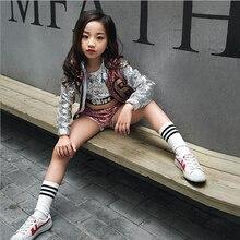 Детские вечерние костюмы с блестками Детская одежда Одежда для танцев в стиле хип-хоп современные костюмы для джазовых танцев для девочек Детские костюмы