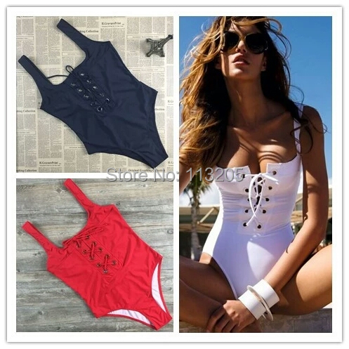 Sexy Women Retro Hollow Lace Up Swimwear Bathing Suit  Bathing Suit Brazilian strappy Swimsuit Set One Piece monokini Biquini