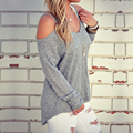 Cold Shoulder Thermal Top 2016 New Grey Plain Cut Out Round Neck Fashion Cotton Shirt Sweater Halter Top