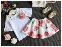2 adet 2017 sıcak moda çiçek toddler çocuk bebek kız üstleri + çiçek etek dress parti düğün kıyafetleri 1-6y toptan giysi setleri