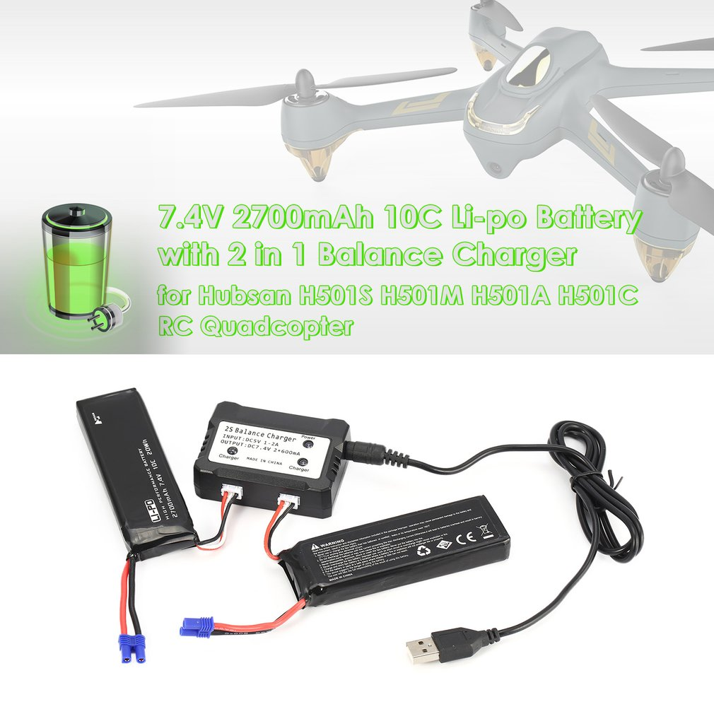 2pcs 7.4V 2700mAh 10C Li-po Battery with 2 in 1 Balance Charger Spare Parts for Hubsan H501S H501M H501A H501C RC Quadcopter 7 4v 2700mah 10c battery ec2 plug durable for hubsan h501s quadcopter rc drone an88