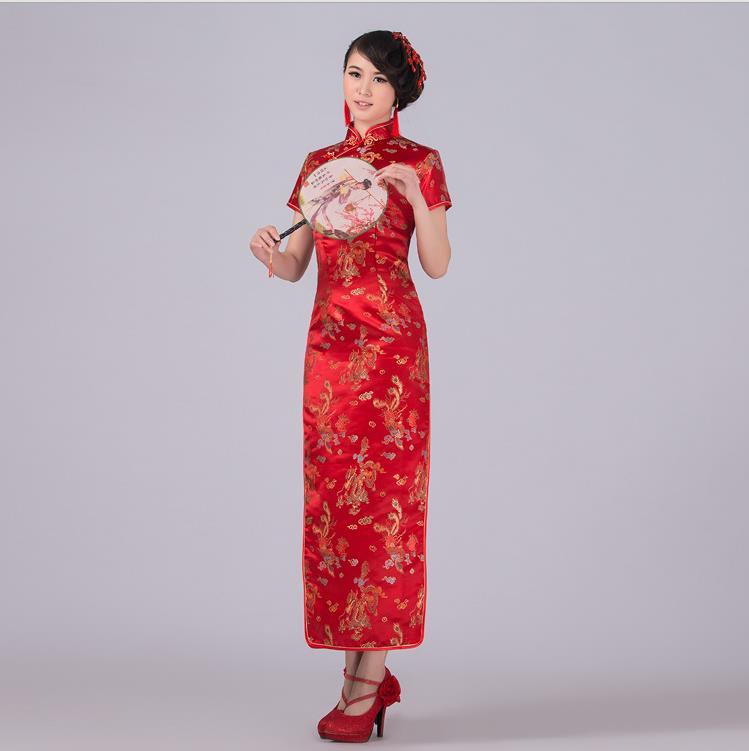 US $15.54 48% OFF|New Arrival Chinese Style Women Traditional Dress Silk  Satin Cheongsam Long Qipao Top Plus Size S M L XL XXL 4XL 5XL 6XL J3092-in  ...