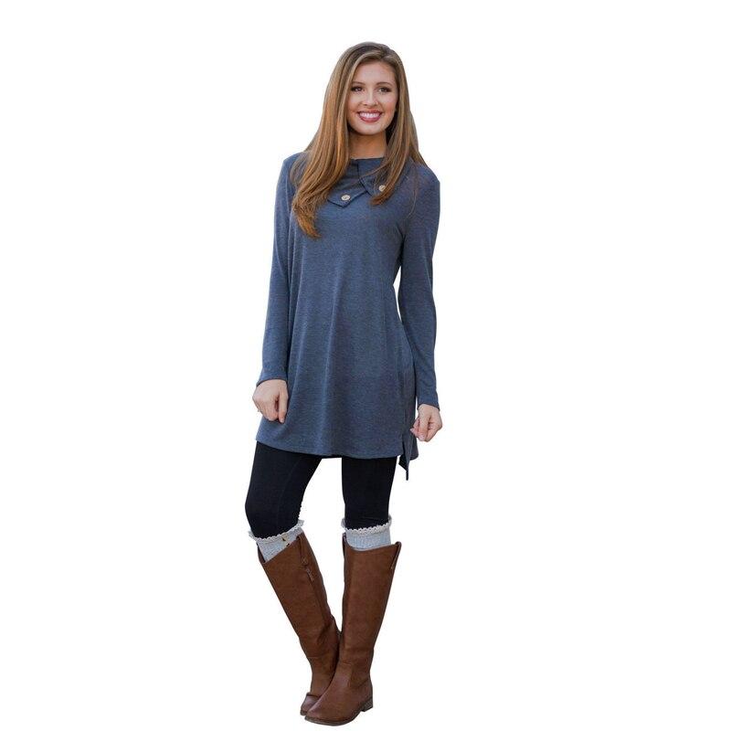 Aliexpress.com Comprar Otoño invierno 2016 mujeres elegantes Casual manga  larga vestido de bolsillo sólido O cuello Vestidos sueltos Vestidos tallas