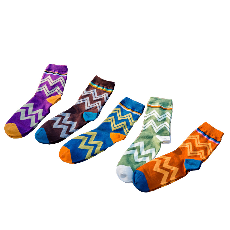 1Pair Men Socks Classic Stripe Design Casual Cartoon Cotton Socks Funny Male Happy Socks High Quality Hot Sale Tube Socks