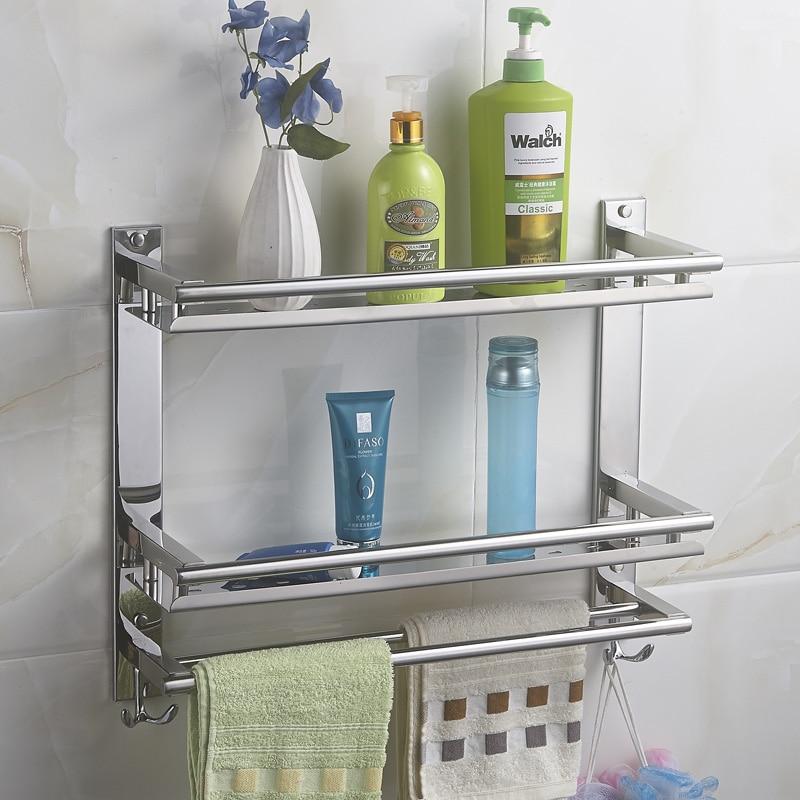 Us 925 Mttuzk Diy Badezimmer Regale 304 Edelstahl Doppelschicht Waschmaschine Doppelhandtuchhalter Kosmetik Rack Bad Zubehör In Badezimmerregale