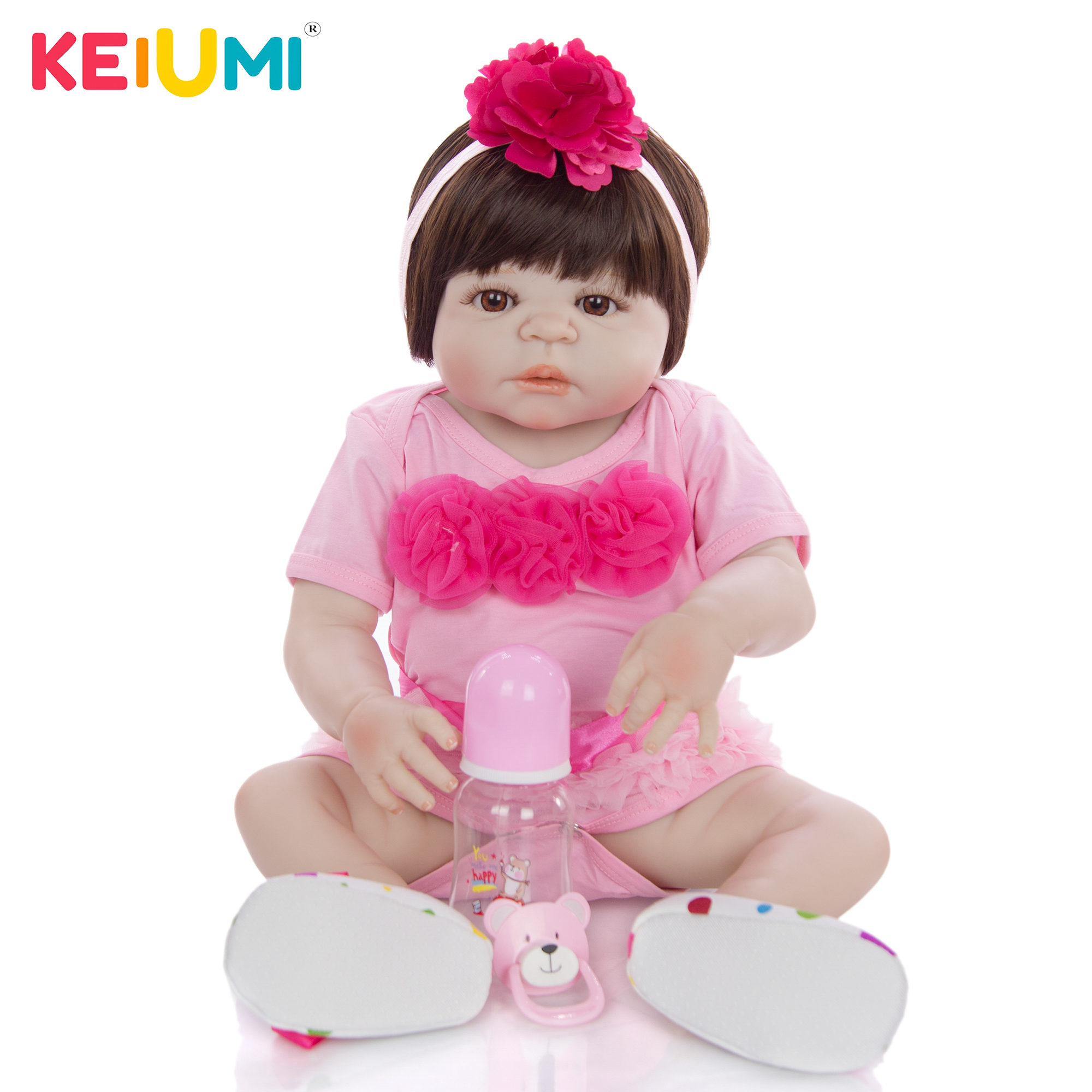 23 Inch Baby Reborn Full Silicone 57 cm Fashion Newborn Baby Doll Lifelike Simulation Doll Toy