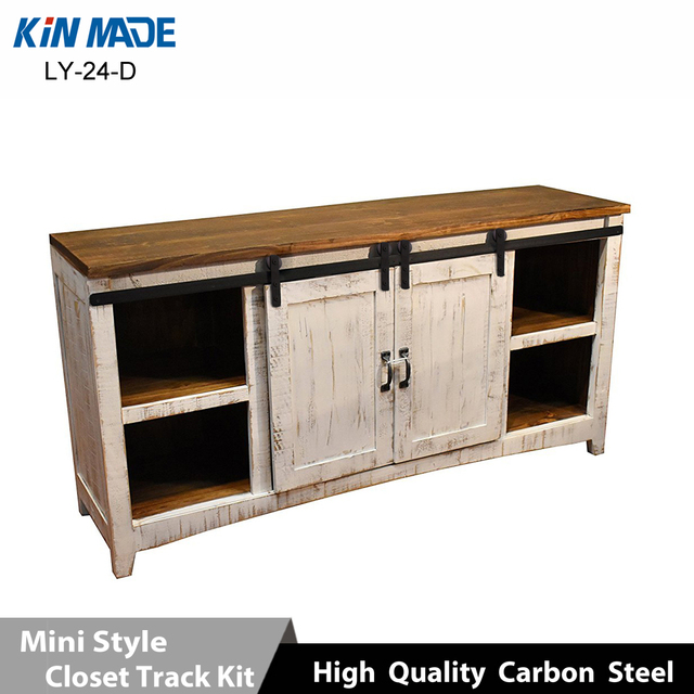 Mini Cabinet Barn Door Hardware Flat Track Wooden Sliding Door System Kit