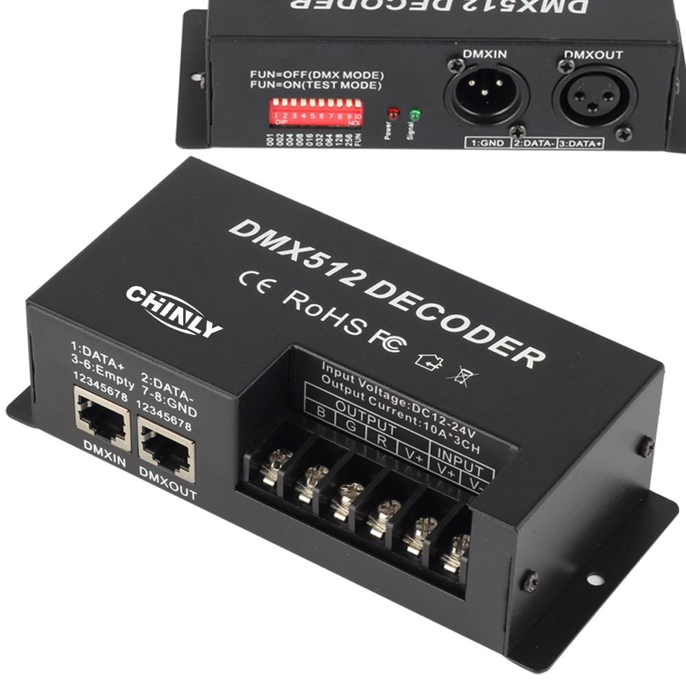 3 Channel 30A RGB DMX 512 LED Decoder Controller DMX Dimmer Use For DC12-24V RGB LED Strip