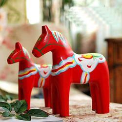 2 sztuk/zestaw drewniane Nordic szwecja Dala malowane czerwony koń dekoracja rzemieślnicza|Figurki i miniatury|   -