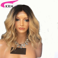 1b/27 Ombre Blonde Brazilian Remy Human Hair Lace Front Wigs for Women With Baby Hair Human wig Pre Plucked Natural Hairline KRN