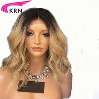 1b/27 Ombre Blonde Brésilienne Remy de Cheveux Humains Avant de Lacet Perruques pour les Femmes Avec Bébé Cheveux Couleur Ombre Humaine perruque KRN