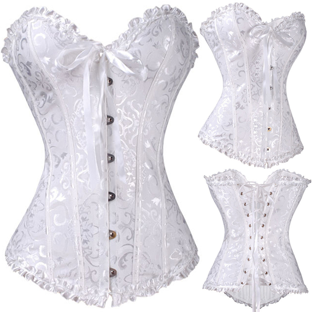 All Year NEW Bustier Corset White Plus Size Fashion Sleepwear Sexy Women Lace Tops Steel Bustier Lingerie Wedding Corset Dress