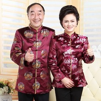 Lovers Dress Longevity Chinese Traditional Clothing Ladies Silk Gold Satin Blouse Blouses Winter Coat China National