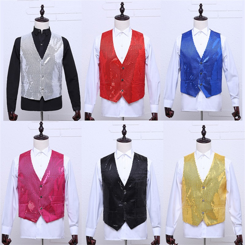 Paillette Male Sequins Stage Performance Costumes Men Vest MC Host Clothing Waistcoats Show Sleeveless Jackets Gold Silver