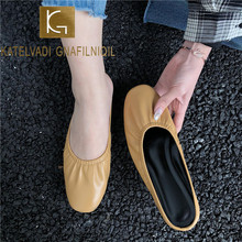 купить KATELVADI Plus Size 34-43 Women Shoes Genuine Leather Women Slip On Flats Slippers Shoes Moccasins Causal Shoes Woman K-455 по цене 1846.57 рублей