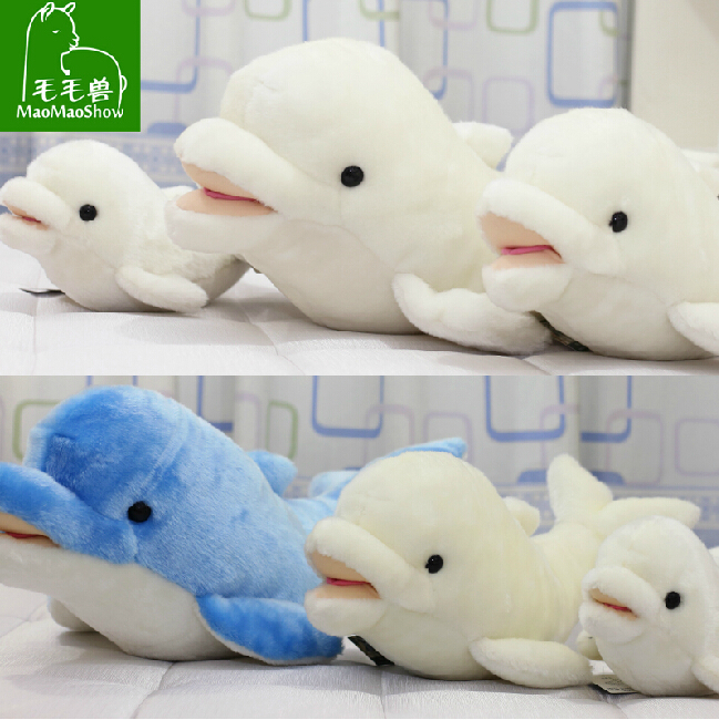 ФОТО Cute Dolphins Plush Toys  Large Blue Dolphin Doll  Beluga Pillow  Girl  Birthday Gift