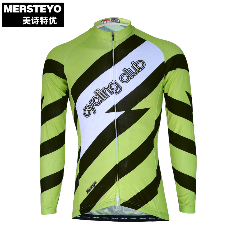 MERSTEYO Pro Men Bike jersey Long Sleeve Team Cycling clothing Cool Green Riding Top Male MTB Wear Ropa Ciclismo Shirts Jakets