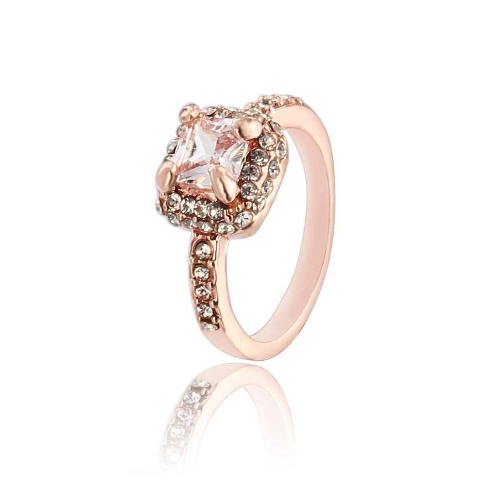 Fashion Rose Gold Engagement Big Crystal Stone Zircon Ring Women Wedding Rings -in Rings from ...