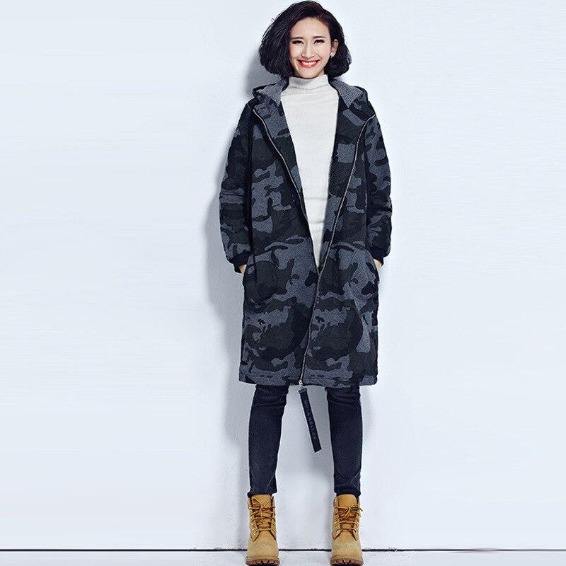 Cappuccio 3538 Morbido Delle La Donna Signore Cappotti Camouflage Hasp Cappotto Inverno A051z40 Del Panno A051 Per Giacche Manica Donne Di Addensare Lunga Outwear Con 2018 A afxvC4aqw