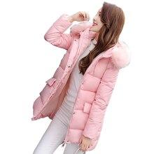 2016 Дамы пуховик зимнее пальто Новый в длинный отрезок женщин перо ватник для женщин Плюс размер