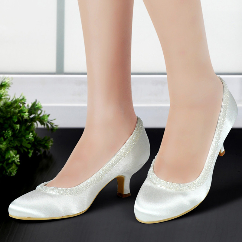 EL-005CC Woman Wedding shoes Ivory White Round Toe Beading Mid Low Heel Satin bridesmaids Ladies Bride  Bridal Prom Dress Pumps