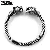 ZABRA Твердое Серебро 925 пробы 2 тигра 6 мм Винт Открытый браслет для мужчин браслет Викинг Винтаж Панк Рок тайские серебряные ювелирные издели