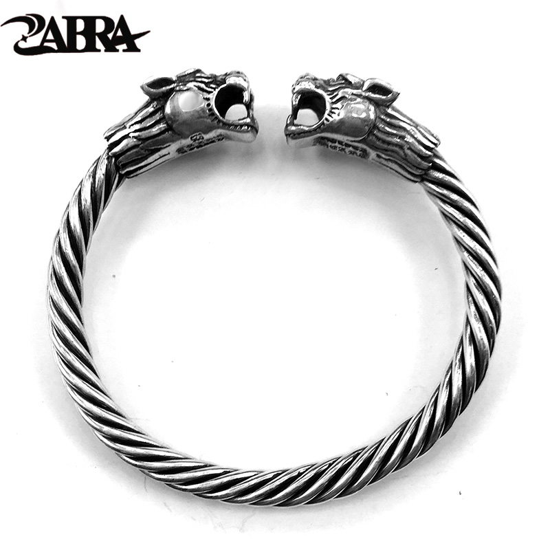 ZABRA Solid 925 Sterling Silver 2 Tigers 6mm Screw Open Cuff Bracelet Men Viking Bangle Vintage Punk Rock Thai Silver Jewelry 27 5g solid sterling silver 925 skull cuff bangle bracelet men top fashion punk style rock star mens silver 925 jewelry gifts