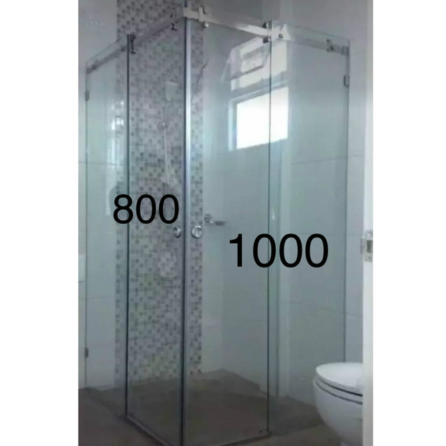 (USA Hot Selling ) Corner Brushed Stainless Steel Flat Bar Decor Sliding  Shower Barn Door