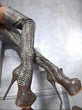 Vermelho de couro chuva botines Botas feminina sapatos de plataforma sensuais virilha da coxa alta sobre o joelho botas de pele python extrema alta calcanhar