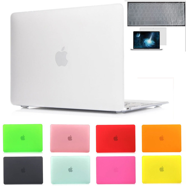 11colors matte laptop case Protective shell for macbook pro 13/retina13+transparent skin+screen protector for mac book air 11 13