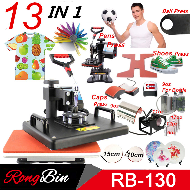 New 13 in 1 Combo Heat press Machine Sublimation Printer 2D Heat Transfer Machine for Shoes