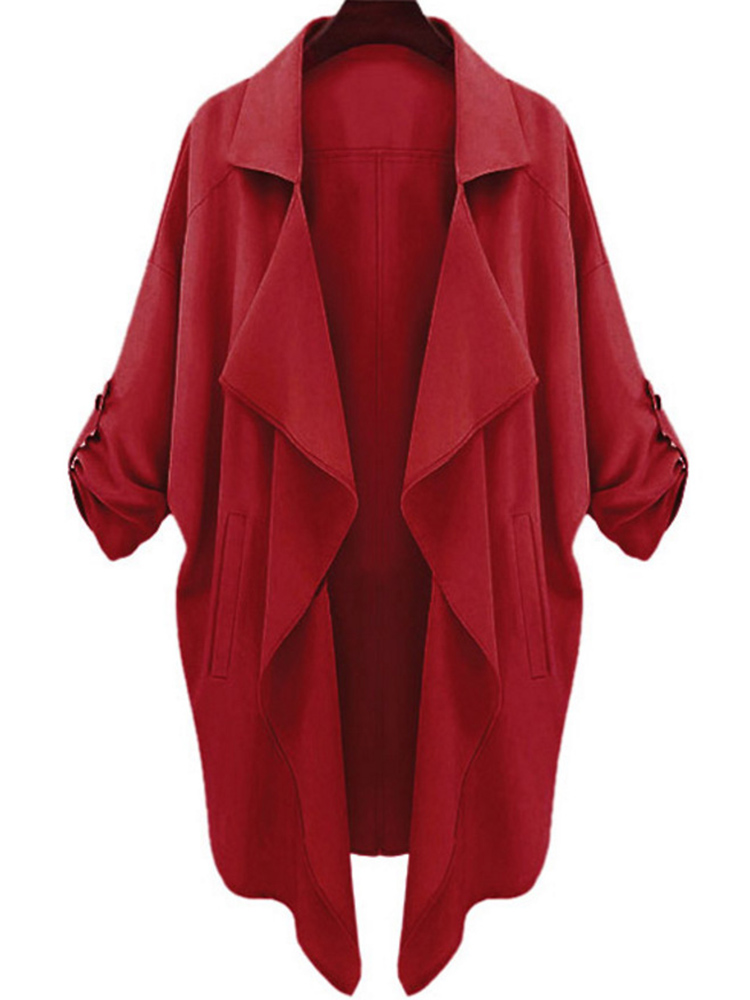 Plus Size Woman Coat Autumn Spring Solid Designer Cardigan Women Clothes 2019 Casual   Trench   Thin Bat Sleeved Sexy New Elegant