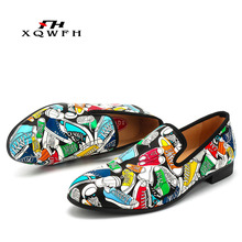 Brand Men Shoes Fashion Print Feast Banquet Dress Leather Individual Character Mens Loafers