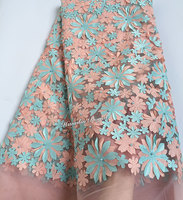 Light Peach Aqua Beaded Floral French Lace African Tulle Lace Fabric With Sequins 6240 5 Yards