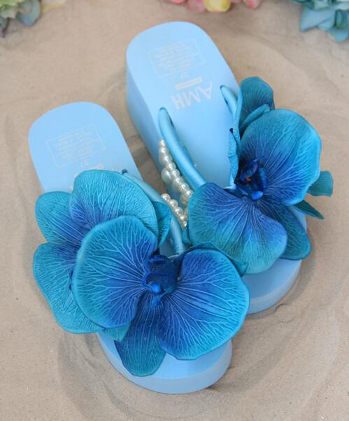 HAHAFLOWER new summer sandals increased thick high heeled platform Fashion pearl Flowers flip flops female tide in Flip Flops from Shoes