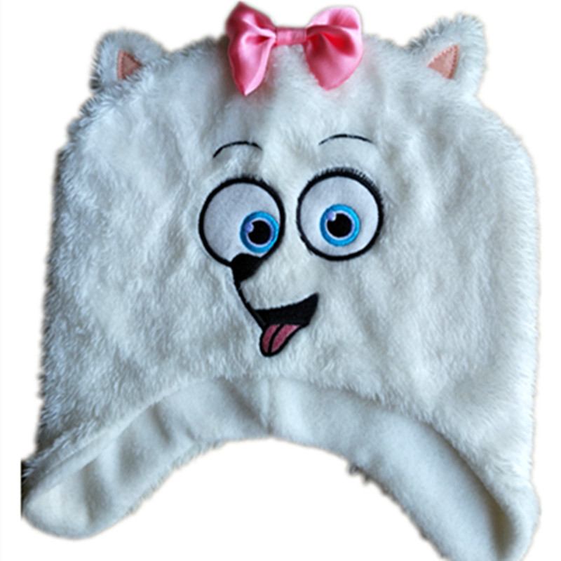 2017 New Beanie Babies Cartoon Cute White Pet Gidgt Dog knitted Warm Hat Kids Cap Animals Beanies For Children Christmas Gifts the new children s cubs hat qiu dong with cartoon animals knitting wool cap and pile