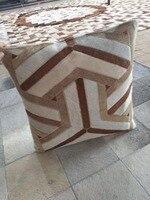 Большой Y дизайн коричневый коровьей кожи подушки 50x50 см наволочка + внутренняя вставка корова волосы на кожура подушка