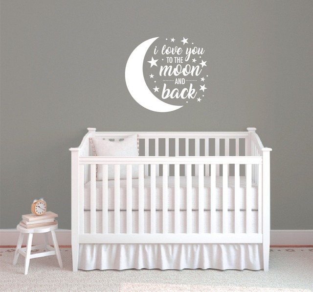 Wall Quote Sticker I Love You To The Moon And Back Baby Stickers Diy Bedroom Decals