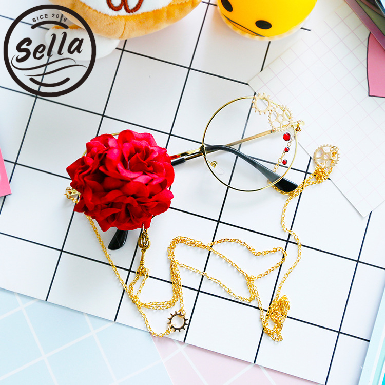 Sella Retro Round Women Rose Decoration Luxury Steampunk Glasses Frame Lolita Harajuku Style Ladies Eyewear