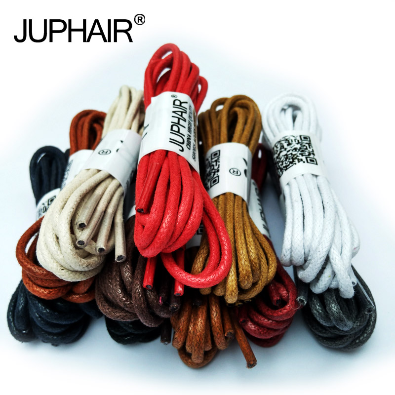 JUP1-12 Pair Red High Quality Unise Laces Waxed Round Shoelaces Sneaker Solid Polyester Twisted Boots Shoes Brand Fashion Sports