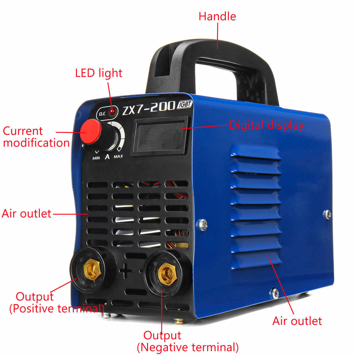 4000 W 20A-200A Pantalla LCD portátil Mini IGBT inversor máquina de soldadura eléctrica soldadora de arco de alta frecuencia inversor máquina herramienta